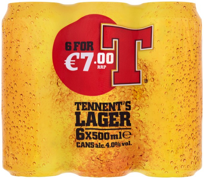 Tennents 6pk Can flashed 7.00
