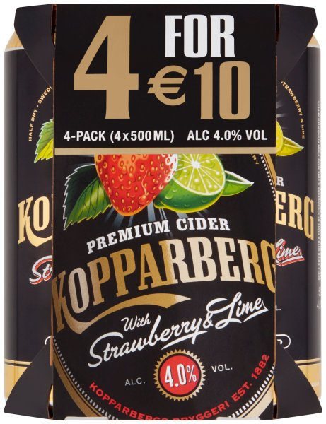 Kopparberg Strawberry & Lime 4 pk cans Euro10.00